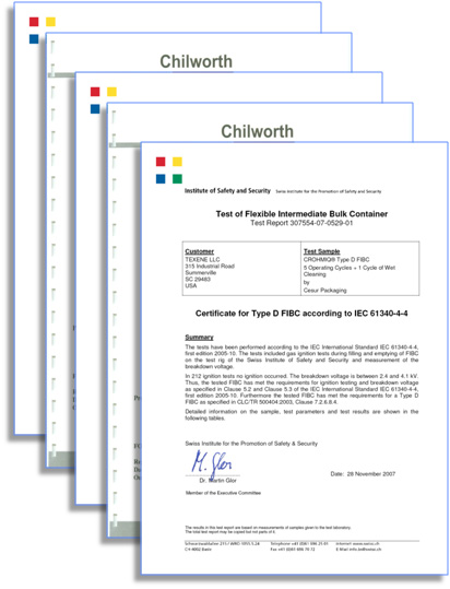CROHMIQ Type D FIBC Electrostatic Ignition Test Reports from Chilworth & Swiss Institute